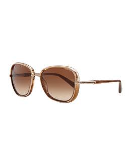 Carolina Herrera Round Metal & Plastic Sunglasses, Shiny Camel