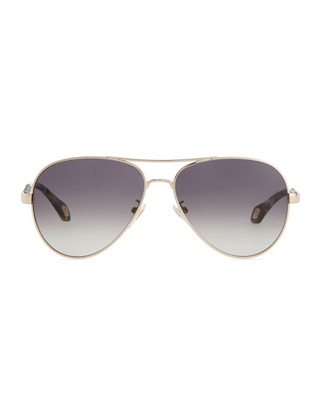 Metal Aviator Sunglasses, Black/Multi