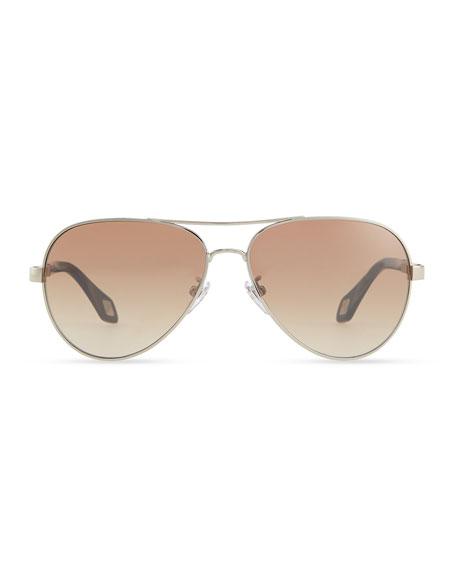 Metal Aviator Sunglasses, Tan/Multi