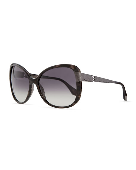 Plastic Sunglasses with Metal Arms, Black