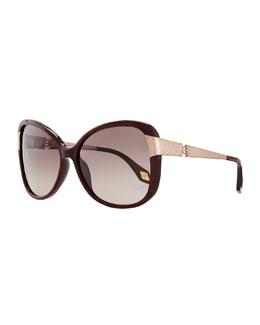 Carolina Herrera Glittered Plastic Sunglasses with Hammered Metal Arm, Brown