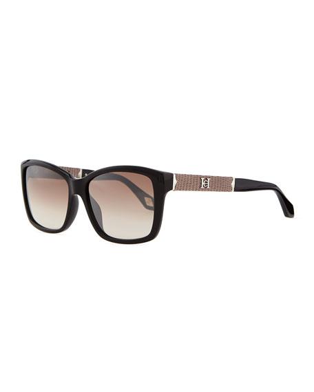 Rectangle Plastic Sunglasses, Black