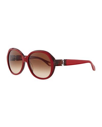 Carolina Herrera Round Sunglasses with Logo Temples, Red