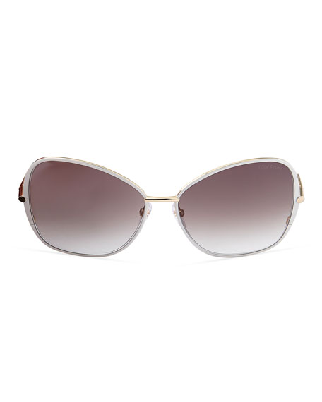 TOM FORD Solange Metal Square Sunglasses, White