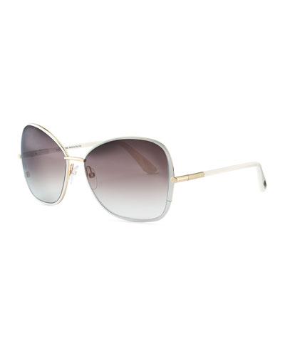 Tom Ford Solange Metal Square Sunglasses, White