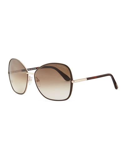 Tom Ford Solange Metal Square Sunglasses, Dark Brown
