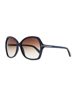 Tom Ford Plastic Square Sunglasses, Blue
