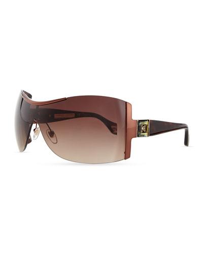 Carolina Herrera Rimless Shield Sunglasses with Plastic Arms, Brown