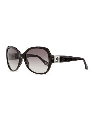 Carolina Herrera Round Plastic Sunglasses with Gradient Lens, Marble Gray