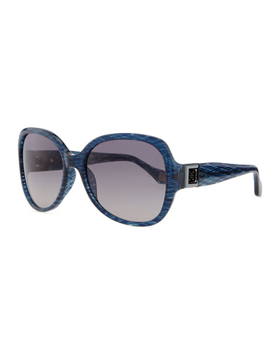 Carolina Herrera Round Plastic Sunglasses with Gradient Lens, Shimmery Blue
