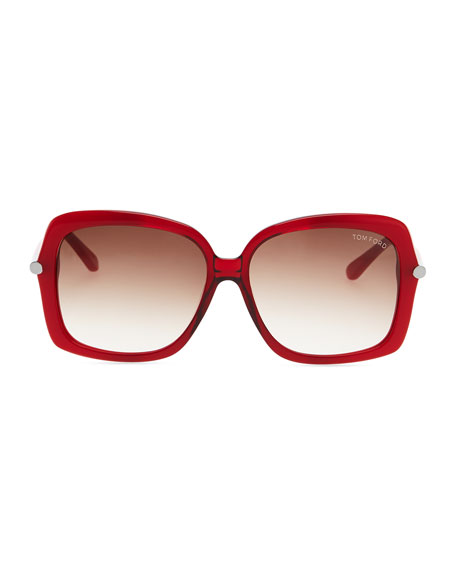 Plastic Square Sunglasses, Red