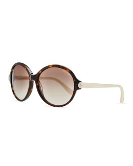 Tom Ford Plastic Oval Sunglasses, Brown/Ivory