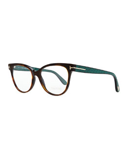 Tom Ford Rectangle Optical Fashion Glasses, Havana