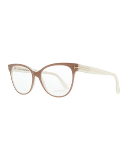 Tom Ford T-Temple Cat-Eye Fashion Glasses, Pink