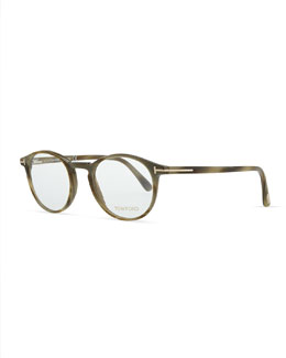Tom Ford Plastic Round Fashion Glasses, Green