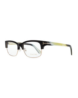 Tom Ford T-Temple Plastic/Metal Half-Rim Fashion Glasses, Black Horn