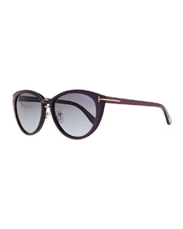 Tom Ford Striped Acetate Cat-Eye Sunglasses, Blue/Purple