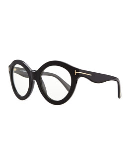 Tom Ford Plastic Round Fashion Glasses, Black