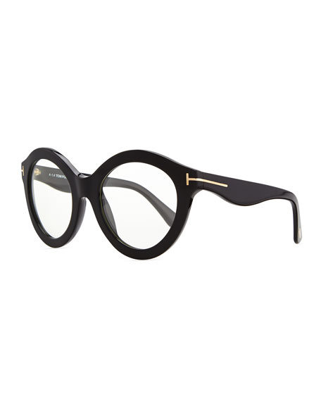 Plastic Round Fashion Glasses, Black