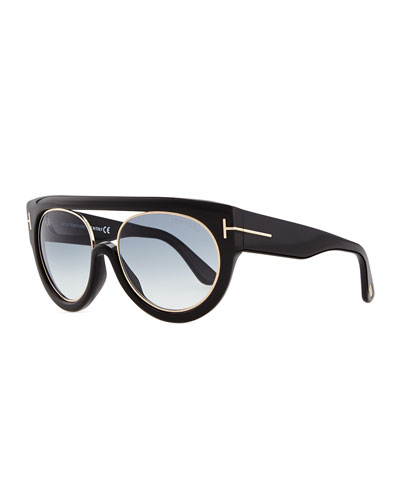 Tom Ford Alana Modified Plastic Aviator Sunglasses, Black