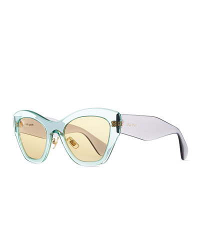 Miu Miu Clear Plastic Cat-Eye Sunglasses, Green/Purple