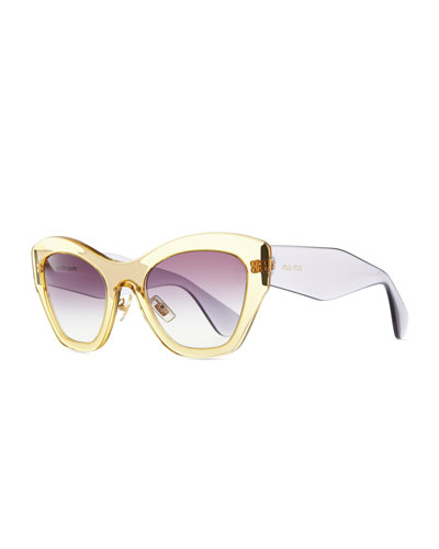 Miu Miu Clear Plastic Cat-Eye Sunglasses, Yellow/Purple