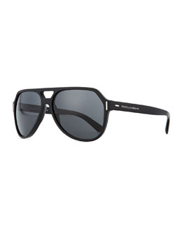 D&G Plastic Aviator Sunglasses, Black