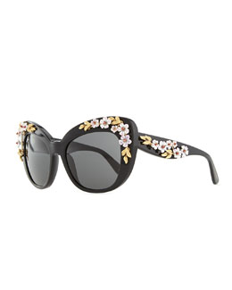 D&G Plastic Cat-Eye Sunglasses with 3D Flowers