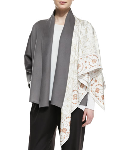 eskandar Square Hand-Spun Silk Shawl, Natural