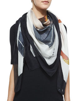Givenchy Fawn Scarf, Black/Multi