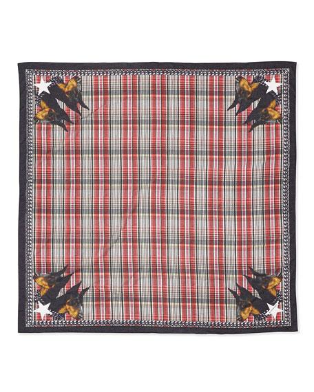 Cotton Doberman Scarf, Red/Multi
