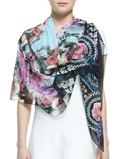 Givenchy Paradise Flower Scarf, Light Blue/Multi