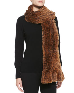 Belle Fare Knitted Rabbit Fur Wrap with Pockets, Copper/Multi