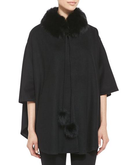 Cashmere Fur-Trim Capelet