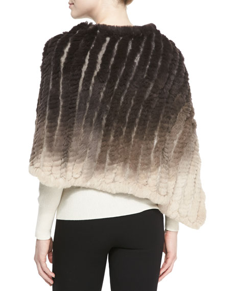 Ombre Rabbit Fur Poncho, Taupe/Brown