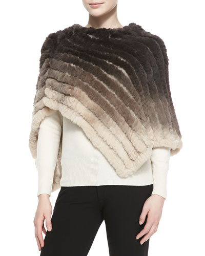 La Fiorentina Ombre Rabbit Fur Poncho, Taupe/Brown