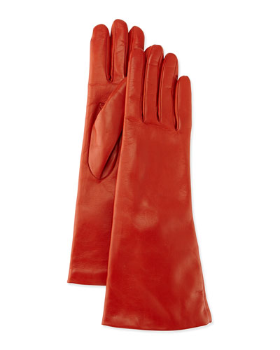 Portolano Cashmere-Lined Leather Gloves, Orange