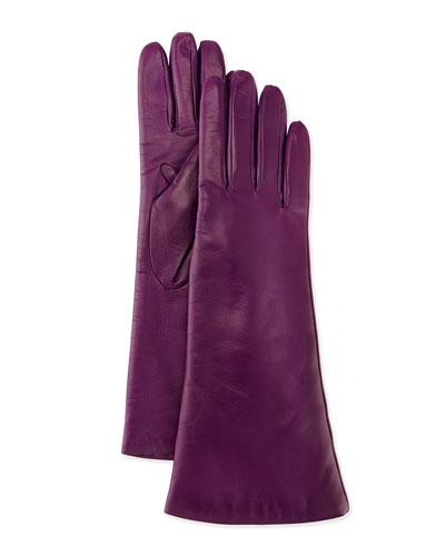 Portolano Cashmere-Lined Leather Gloves, Fresh Plum