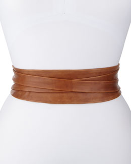 ADA Collection Leather Wrap Belt, Tan