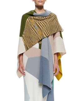 Missoni Colorblock Rib Knit Cashmere Shawl, Olive/Multi