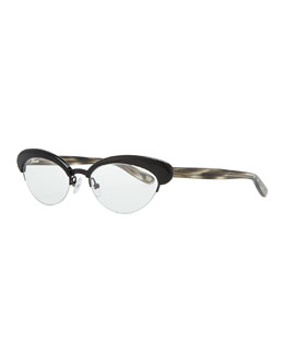 Bottega Veneta Acetate Half-Rim Fashion Glasses, Black