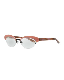 Bottega Veneta Acetate Half-Rim Fashion Glasses, Rose