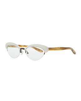 Bottega Veneta Acetate Half-Rim Fashion Glasses, Ivory/Brown