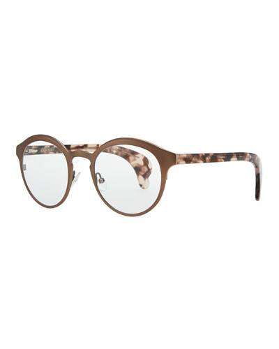Bottega Veneta Metal & Tortoise Acetate Fashion Glasses, Brown