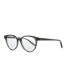 Bottega Veneta Rounded Acetate Fashion Glasses, Dark Gray