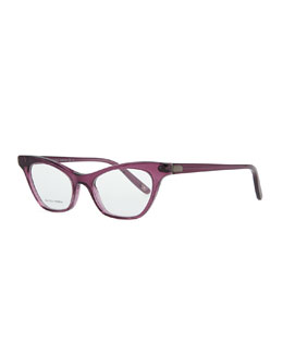 Bottega Veneta Cat-Eye Acetate Fashion Glasses, Cyclamen