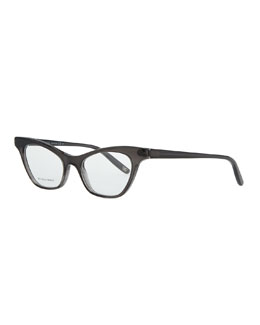 Bottega Veneta Cat-Eye Acetate Fashion Glasses, Dark Gray