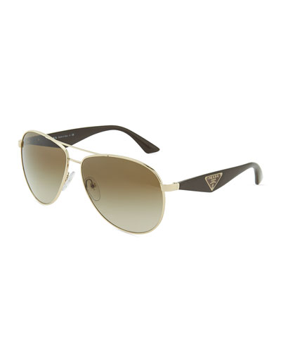 Prada Double Bar Aviator Sunglasses, Light Gold/Brown