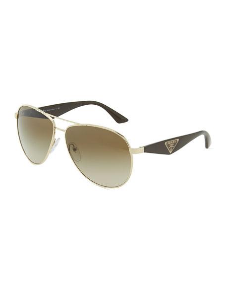 Prada Double Bar Aviator Sunglasses, Light Gold/Brown