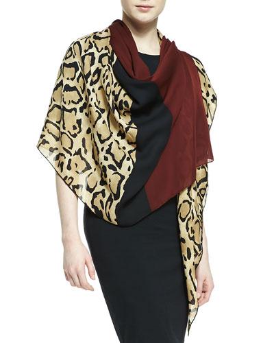 Gucci Lotti Leopard-Print Silk Shawl, Beige/Sienna